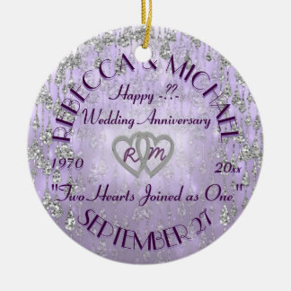 Any Year Anniversary Lavender Christmas Ornament