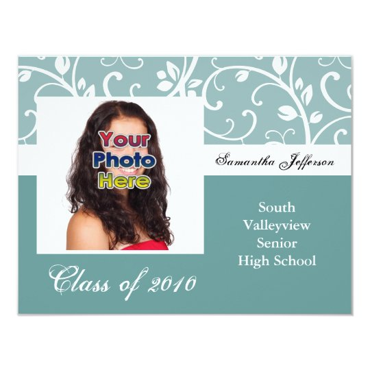 Any Year~ Aqua Vines Photo Graduation Invite