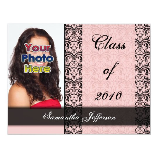 Any Year~ Baby Pink and Black Graduation Card