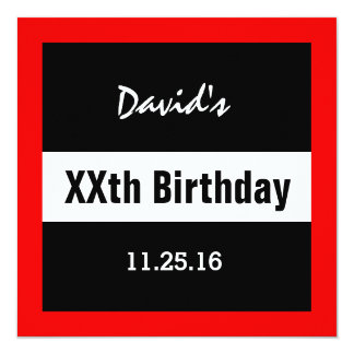 Any Year Birthday Black with Red Frame Custom A1E 5.25x5.25 Square Paper Invitation Card