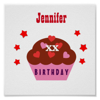 Any Year Birthday Festive Cupcake and Stars V30A Poster
