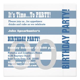 Any Year Birthday Modern Dusty Blue Stripes V03A Custom Invitations