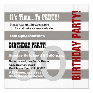 Any Year Birthday Modern Gray Stripes V02A Custom Invitation