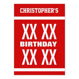 ANY YEAR Birthday Modern Text Design RED A01 13 Cm X 18 Cm Invitation Card