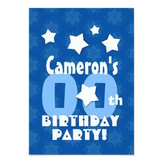Any Year Birthday Party Blue Stars Custom Name Z23 13 Cm X 18 Cm Invitation Card