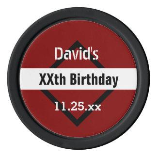 Any Year Birthday Red with Black  Frame Custom Z02 Poker Chips