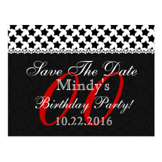 Any Year Birthday Save the Date Red White Lace S09 Postcard