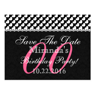 Any Year Birthday Save the Date White Lace V05A Postcards