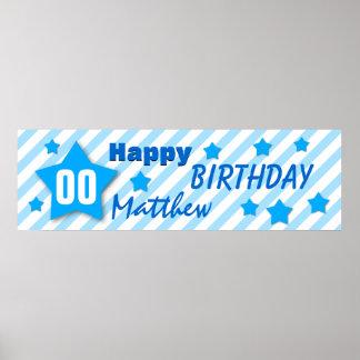 ANY YEAR Birthday Star Banner BLUE STRIPES STARS 1 Poster