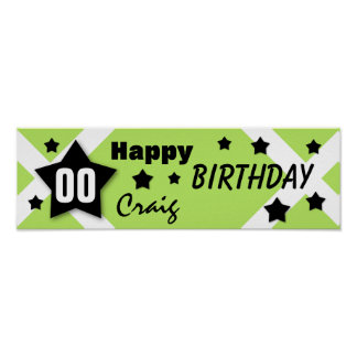 ANY YEAR Birthday Star Banner LIME and BLACK V08 Poster