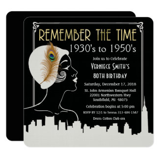 ANY YEAR - Flapper Girl Birthday Invitation