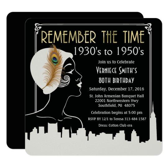 ANY YEAR - Flapper Girl Birthday Invitation