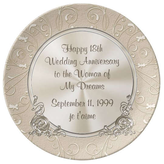 Any Year, Happy 18th Anniversary Plate