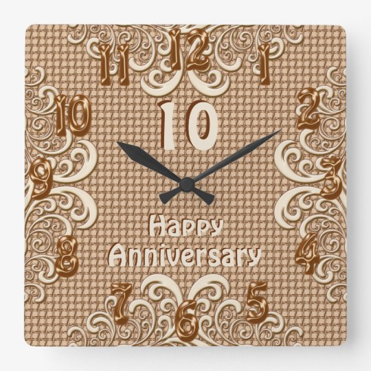ANY YEAR Happy Anniversary Burlap and Lace Clocks