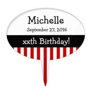 ANY YEAR Personalize Birthday Stripes V11 RED Cake Picks