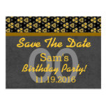 Any Year Save the Date Dark Gray Gold 05C ABSTRACT Post Cards