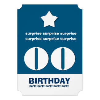 Any Year SURPRISE Birthday Star Ticket Shape V5B Announcement