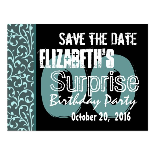 Any Year Surprise Birthday Swirls Save the Date