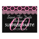 Any Year Surprise Party Pink Black Vintage Lace 2 Postcard