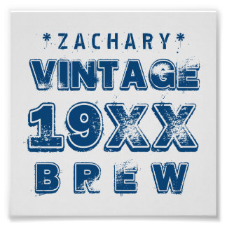 Any Year VINTAGE BREW Grunge Text A02 Photo Print