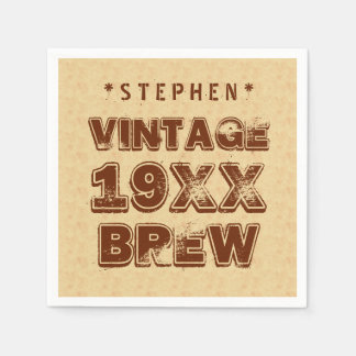 Any Year VINTAGE BREW Grunge Text Gold G11Z1 Paper Napkin
