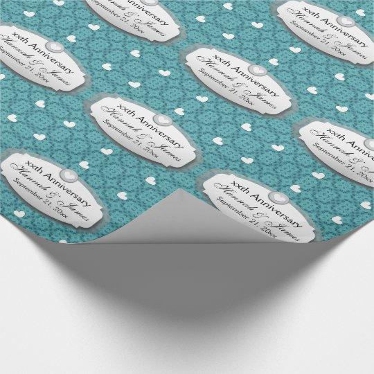 Any Year Wedding Anniversary Aqua Blue Z1 Wrapping