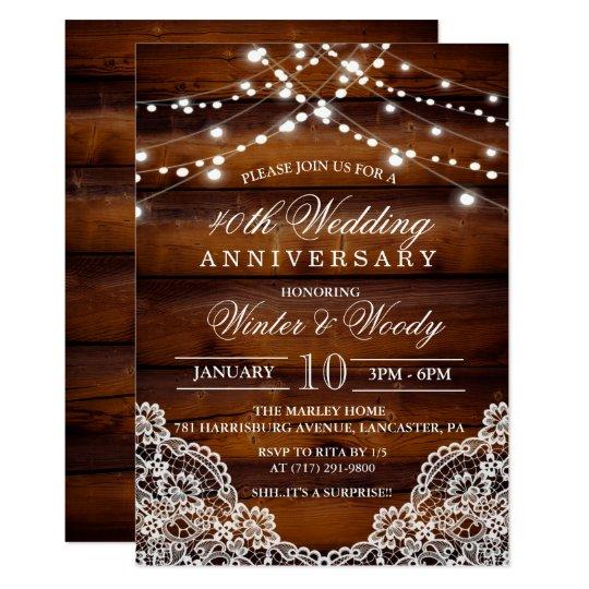 ANY YEAR - Wedding Anniversary Wood Invitation