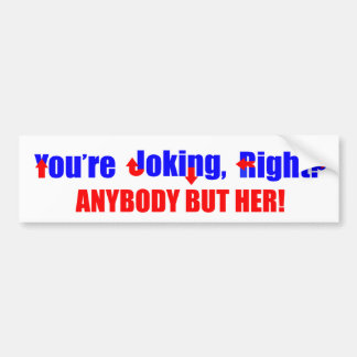 Anybody But Hillary Clinton Bumper Sticker