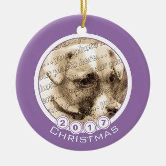 Anyone Date Christmas Custom Purple Photo Ornament