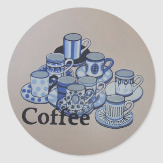 Anyone for coffee round sticker