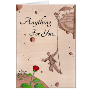 Anything For You - Reaching For Rose - On Rope Greeting Card