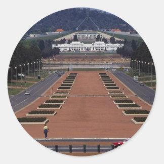 Anzac Parade and Parliament House, Canberra, Austr Round Sticker