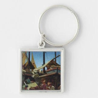 Anzio, The Port Silver-Colored Square Key Ring