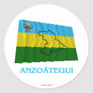 Anzoátegui Waving Flag with Name Round Sticker