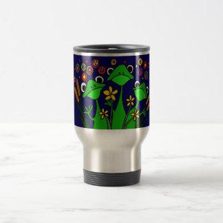 AO- Funny Frog Folk Art Design Travel Mug