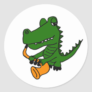AO- Gator Playing the Saxophone Classic Round Sticker
