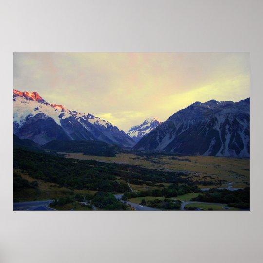 Aoraki/Mount Cook, New Zealand, at Sunrise Poster