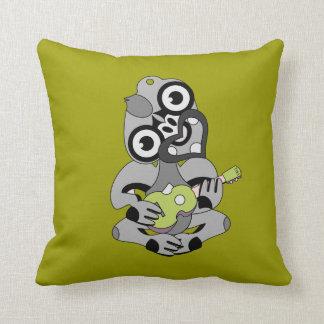 Aotearoa Hei Tiki with green ukulele Throw Pillow