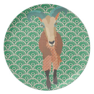 Aoudad Art Green Plate