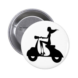 AP028 Girl Scooter 6 Cm Round Badge