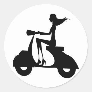 AP028 Girl Scooter Round Sticker