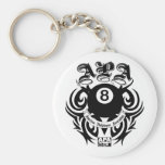 APA 8 Ball Gothic Design Basic Round Button Key Ring