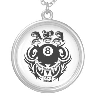 APA 8 Ball Gothic Design Silver Plated Necklace