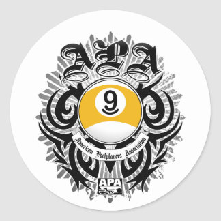 APA 9 Ball Gothic Design Classic Round Sticker