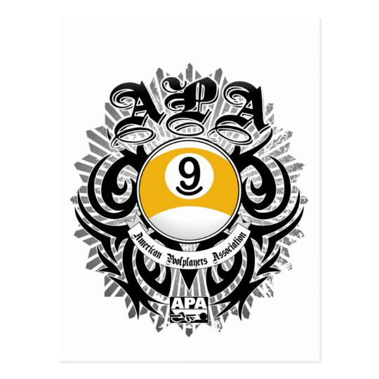 APA 9 Ball Gothic Design Postcard