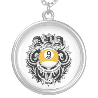APA 9 Ball Gothic Design Silver Plated Necklace