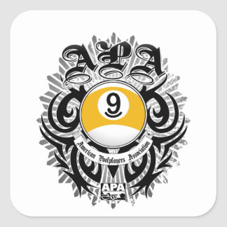 APA 9 Ball Gothic Design Square Sticker