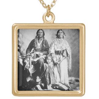 Apache Chief Antonio Maria with his family, 1897 ( Square Pendant Necklace