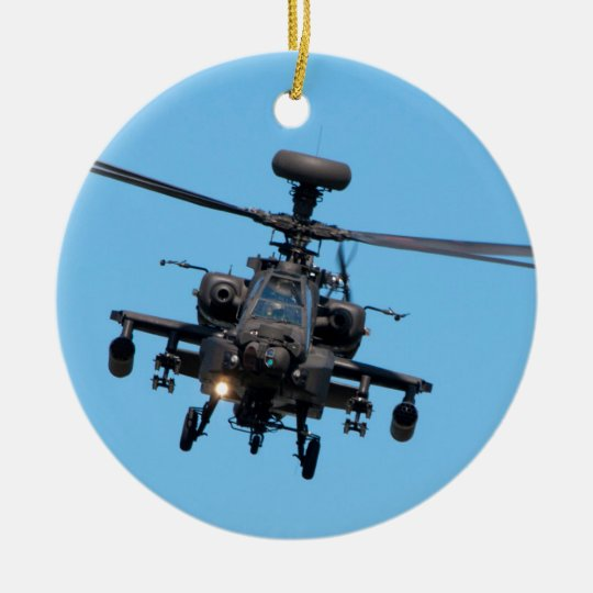 Apache Helicopter Christmas Ornament