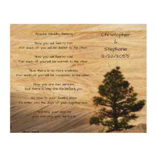 Apache Wedding Blessing Light Brown Stone and Tree Wood Prints